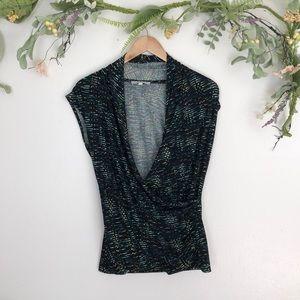 Chaus New York black wrap front blouse size large